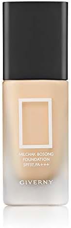 GIVERNY Milchak Bosong Foundation SPF37 PA+++ 1.01 Fluid Ounce (02 Petal Beige) Semi Matte Thin Wear Light Texture Dewy Glow Sunblock Wrinkle Free Brightening