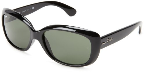 Ray-Ban JACKIE OHH - BLACK Frame CRYSTAL GREEN Lenses 58mm - O Jackie Sunglasses In