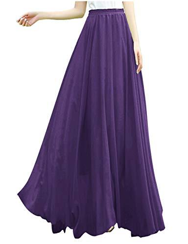 v28 Women Full/Ankle Length Elastic Retro Maxi Chiffon Long Skirt (3X,Purple)