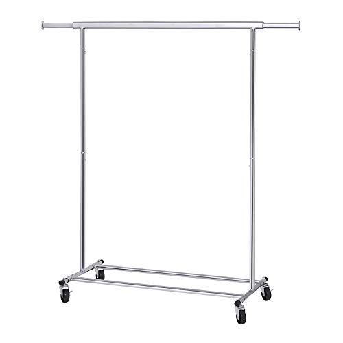 SONGMICS Clothes Garment Rack with Shelf on Wheels Maximum Capacity 198.41lbs Heavy Duty Clothing Rack Extendable & Collapsible UHSR13S