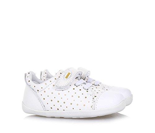 BOBUX - Chaussure Step Up Scribble blanche en cuir, made in New Zealand, avec un motif à pois dorés, fermeture en velcro, bébé Fille
