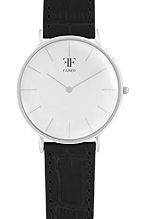 Faber Herren-Armbanduhr Analog Quarz Lederband F807SL