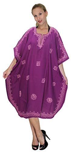 (LA LEELA PV Solid Short Caftan Resort Dress Women Violet_119 OSFM 10-18W [M-2X])