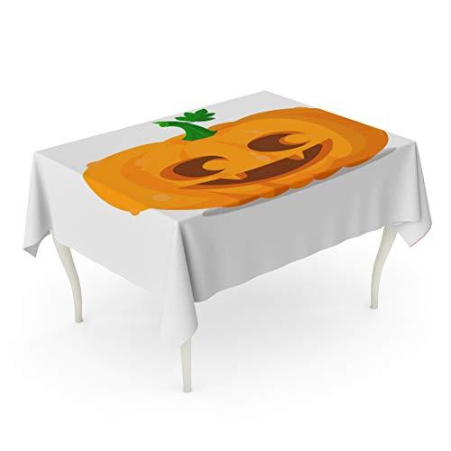 Tarolo Rectangle Tablecloth 52 x 70 Inch Orange Eyes Halloween Pumpkin Happy Autumn Carving Celebration Cute Emotion Table Cloth -