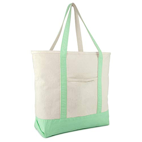 DALIX 22 Large Cotton Canvas Zippered Shopping Tote Grocery Bag in Mint Green