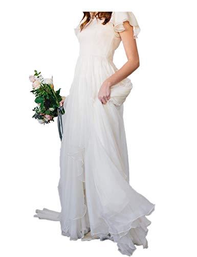 Automan Flowy Chiffon Modest Wedding Dresses Beach Short Sleeves Beaded Belt Temple Bridal Gowns Ivory US 4
