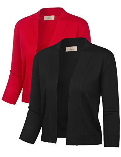Fashion Half Sleeve Vintage Shrugs (L,Black&Red,2 Pack) (Vest Sweater Cropped)