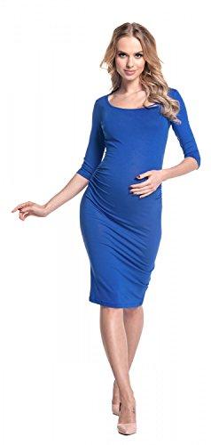 Happy Mama - Vestido de premamá, cintura fruncida, elástico, 939p azul real