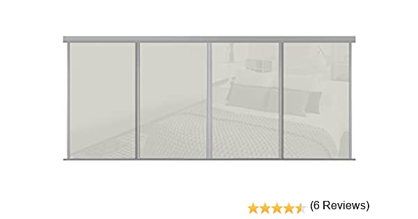 Armario de media altura con 4 puertas correderas., vidrio, Soft White, 2998mm-3607mm: Amazon.es: Hogar