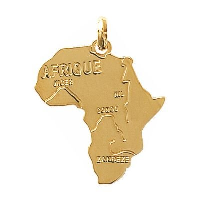 So Chic Jewels - 18k Gold Plated Africa Afrique Continent Map Pendant