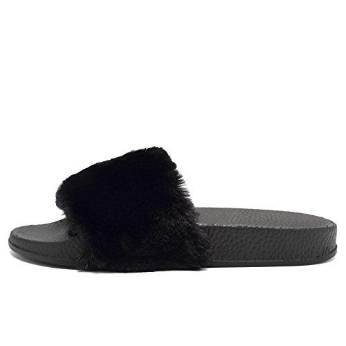 3e23f58fe CIOR Women s Open Toe Faux Fur Slip On Flip Flop Soft Flat Slide Sandals  chic