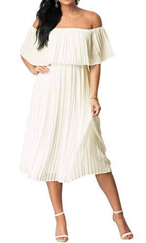 Mmondschein Women's Vintage Off Shoulder Evening Casual Party Chiffon Maxi Dress White M ()