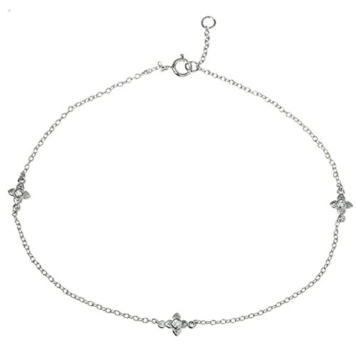 Rhodium On 925 Sterling Silver Flower Cross Clear Cz Crystal Charm Chain Anklet Bracelet 9