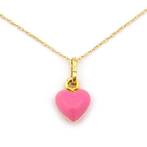 Girl's 14k Yellow Gold Pink Enamel Heart Pendant Necklace - 18'' by Beauniq
