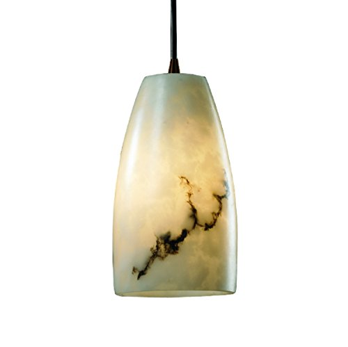 Justice Design Group Lighting FAL-8816-28-DBRZ-BKCD LumenAria - Small 1-Light Pendant - Tall Tapered Cylinder Shade - Dark Bronze - Faux Alabaster