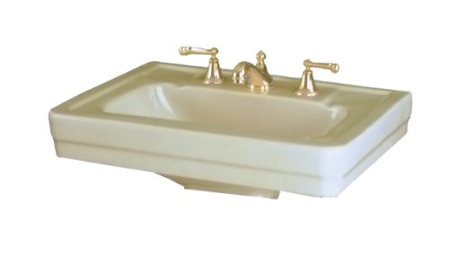 - St. Thomas Creations 5125.082.02 Richmond Petite 8-Inch Centerset Pedestal Sink, Bone Finish. Drain stopper not included.
