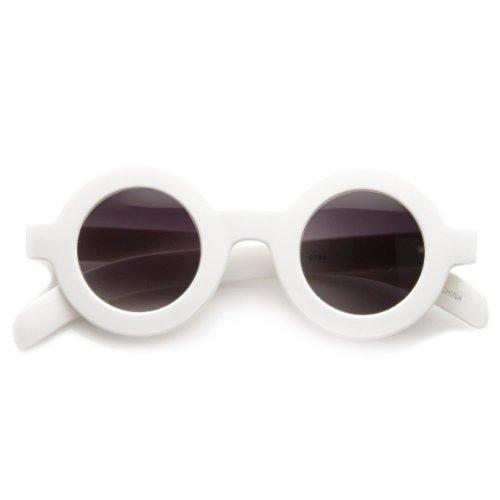 Retro Fashion Bold Frame Horned Rim Round Circle Sunglasses (White) -