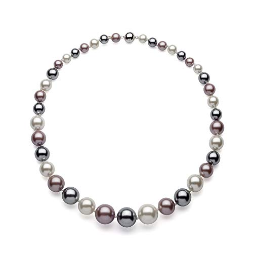 Stunning Graduated Shell Pearl Necklace & Sterling Silver Magnetic Clasp- 925 (Multi ()