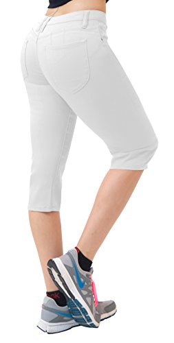 Women's Butt Lift Super Comfy Stretch Denim Capri Jeans-Q43301X-WHITE-20 ()