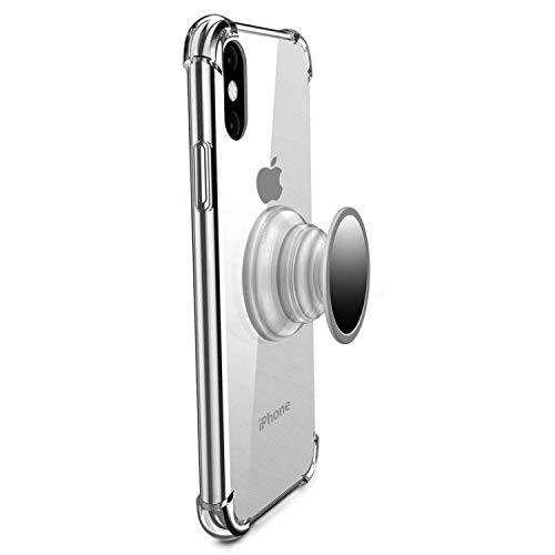 iPhone Xs Case,iPhone X Case Clear,MISSCASE Premium Soft TPU Protecive Shockproof Case with Stand Iron Mirror [Fit Car Mount] for iPhone Xs 2018 Clear
