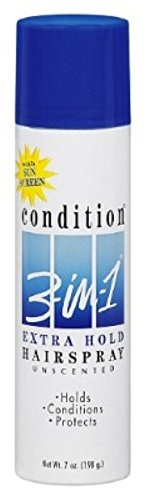 Condition 3 In 1 Sunscreen - CONDITION 3-In-1 Hairspray Aerosol Extra Hold Unscented 7 oz ( Pack of 6)