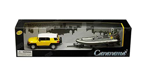New DIECAST Toys CAR CARARAMA 1:43 W/B - Toyota FJ Cruiser (Yellow/White) with Speed Boat and Trailer (Grey) 48115