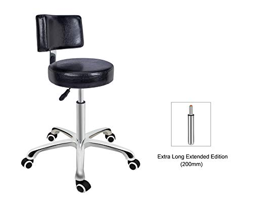 Grace & Grace Height Adjustable Rolling Swivel Stool Chair with Round Seat Heavy Duty Metal Base for Salon,Massage, Factory, Shop (with Backrest, Black)