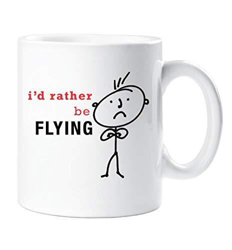 Solid 10 Oz Ceramic Mug - Flying Mug I'd Rather Be Flying Present 10oz mug Ceramic Dad Boyfriend Present