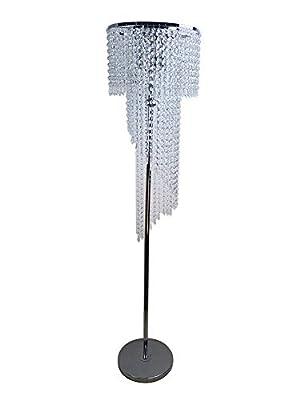 Hsyile Lighting KU300160 Modern Style Floor Lamp Chrome Finish and Plentiful Crystals,3 Lights