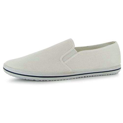 Goldwater Frauen beiläufige flache Slip-On Canvas Low Top Turnschuhe Skate Schuhe Weiß