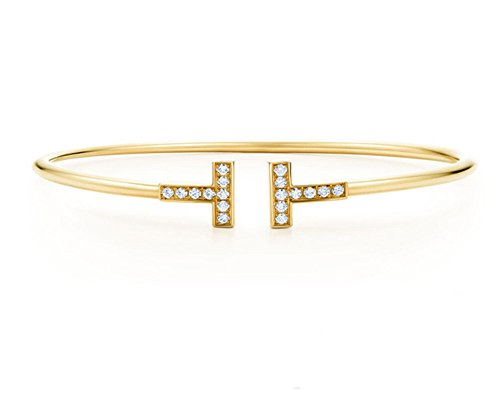 Double T Shape Cuff 18K Gold Plated Bangle Bracelet (Yellow - Bracelet Bangle Yellow Gold 18k