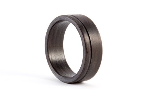 Men's carbon fiber flat ring. Unique and modern black wedding band. Water resistant, very durable and hypoallergenic. (00109_7N) by Rosler