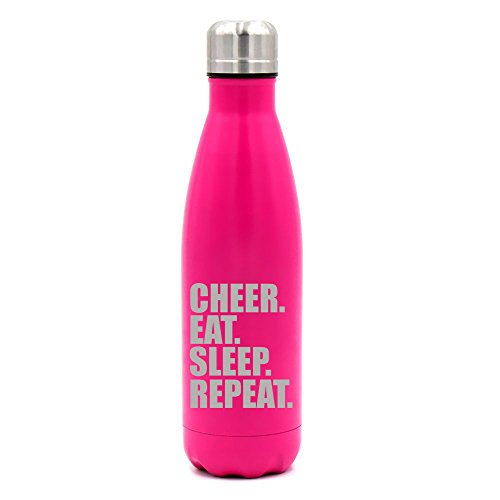 17 oz. Double Wall Vacuum Insulated Stainless Steel Water Bottle Travel Mug Cup Cheer Eat Sleep Repeat Cheerleader (Cheerleader Pink Bottle)