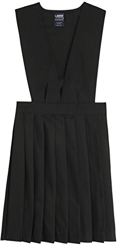 French Toast School Uniform Girls V-Neck Pleated Jumper, Black, 14-1/2 Plus