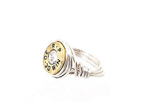 (Silver Wire Wrap Custom Bullet Ring Choose Your Caliber and Size Gun Ammo Jewelry)