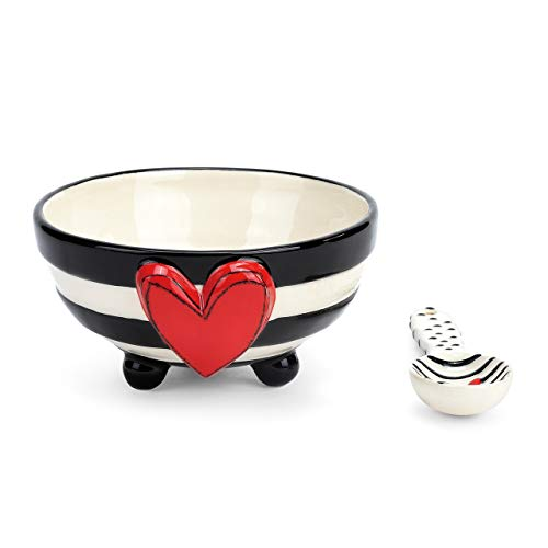 Wide Stripe Black and White Heart 5 x 5 Ceramic Stoneware Candy Bowl With -