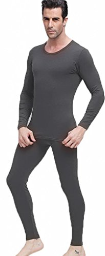 Men's Thermal Underwear Set Top & Bottom Fleece Lined, M1 Charcoal, X-Large