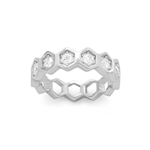 Eternity Honeycomb Hexagon Ring with Sparkling Cubic (Hex Ring)