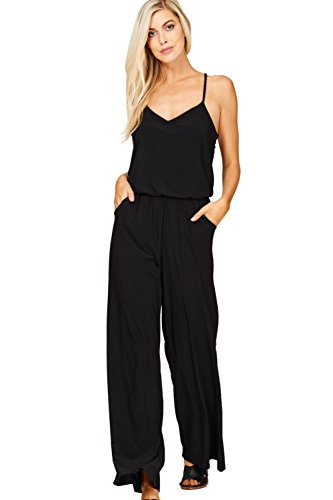 Black Racer Jumpsuit - Annabelle Women's Plus Size Knit Solid Jumpsuit Featuring Solid V-Neck Strap Sleeveless Racer Back Elastic Waist Full Length with Pockets Black XXX-Large J8056P
