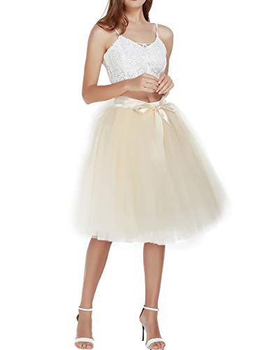 Women's Solid A Line Midi/Knee Length Tutu Skirt 6 Layered Pleated Tulle Petticoat Dance Tutu(Beige),One size ()