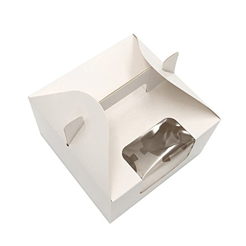 Cupcake Boxes 4 Cavity Holds with Window, Handle and Inserts Cardboard Cake Muffin Gift Cupcake Holders Box 6.1