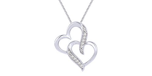 10k White Gold Round Cut Real Natural White Diamond Double Heart Pendant Necklace (I-J Color, I2-I3 Clarity)
