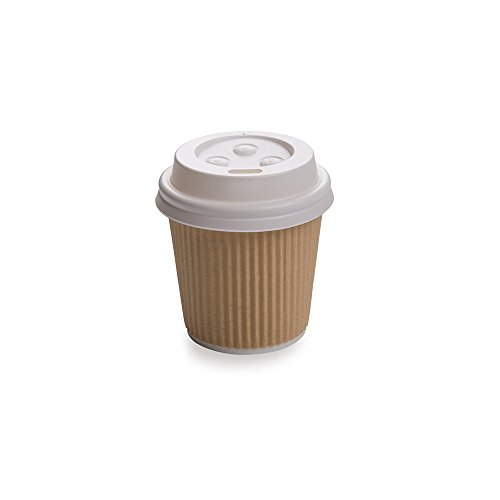 White Coffee Cup Lids, Polystyrene Lids, Wholesale, Takeout, To Go Lids - Fit's Restaurantware 4 oz Coffee Cups - 25ct Box ()