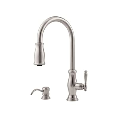 Pfister LF-529-7TMS Hanover 1-Handle Pull-Down Kitchen Faucet with Soap Dispenser in Stainless Steel