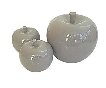 Keramik Deko Pfel Farbe Taupe   Deko Taupe