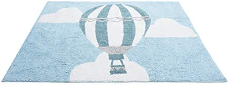 Aratextil Alfombra Infantil 100/% Algod/ón lavable en lavadora Colecci/ón globo celeste 120x160 cms