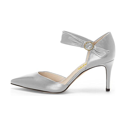 XYD Womens Retro Mid Heel D'Orsay Pointed Toe Cut Out Ankle Strap Buckles Dress Pumps Silver footlocker pictures online low price fee shipping cheap price h0I6c39Ca