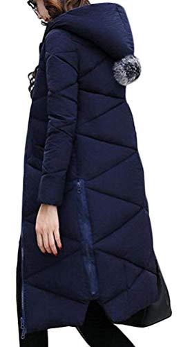 Femme Blouson Manteau Zip Hiver Manteau breal Longues avec Unicolore Elgante Longues Quilting Chaud Automne Veste Mode Rembourrage Capuchon Blau Hiver Manches Doudoune BIRAN Hiver dFHpdn