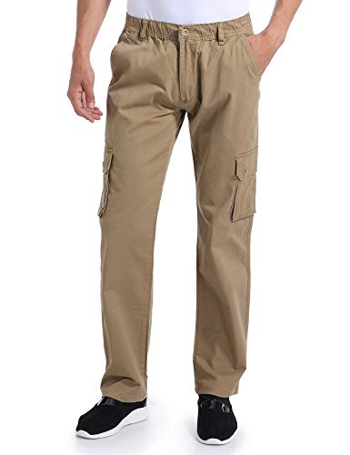 Eaglide Mens Relaxed Fit Elastic Cargo Pant, Mens Pockets Cotton Tactical Pants
