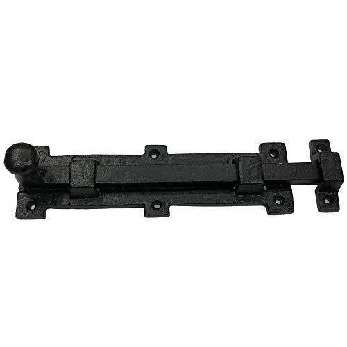 "(1) - 9"" Black Slide Door Bolt Latches - DB-115 Antique Style Door Bolt Latch for Gates, Doors, Closet, Cabinet, Sliding Barn & Shed Doors - in Vintage Black cast Iron"